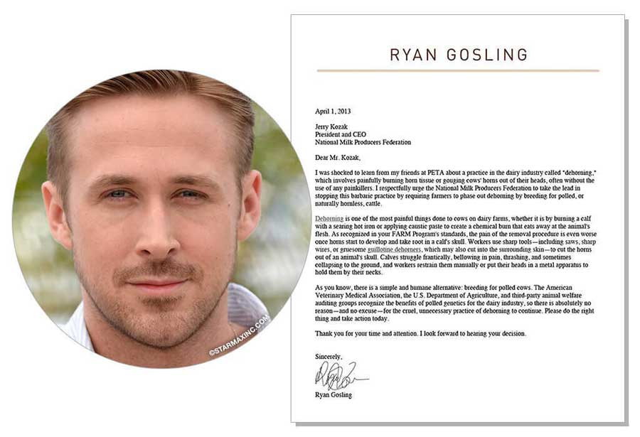 Ryan Goslings Animal Rights Protest Letter