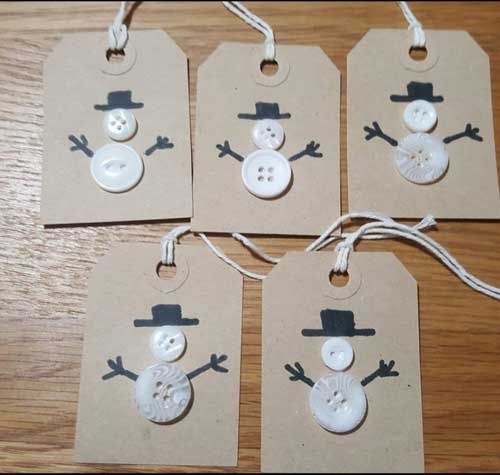 Recycle Christmas Cards Greetings Cards Gift Tags Wrapping Paper Buttons and Black Fine Liner Design Ideas 1