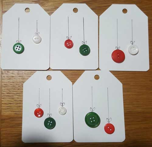 Recycle Christmas Cards Greetings Cards Gift Tags Wrapping Paper Buttons and Black Fine Liner Design Ideas 3