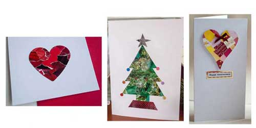 Recycle Christmas Cards Greetings Cards Gift Tags Wrapping Paper Hearts and Tree Collage Cards