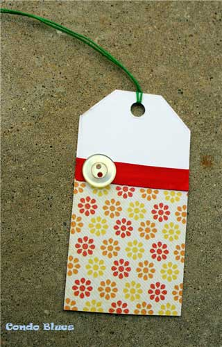 Recycle Christmas Cards Greetings Cards Gift Tags Wrapping Paper Make Button and Ribbon Gift Tag