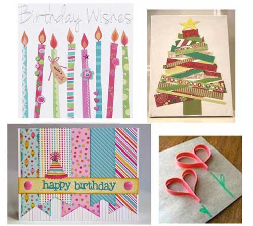 Use Strips of Greetings Cards to Create New Ones