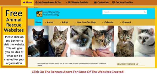 Run An Animal Adoption Site Free Animal Rescue Websites Screenshot